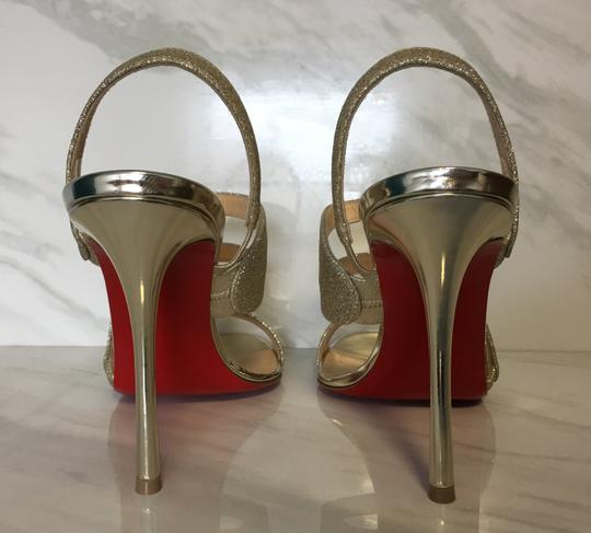 Christian Louboutin Very Rete Stiletto Platform Mesh Gold Sandals Image 8