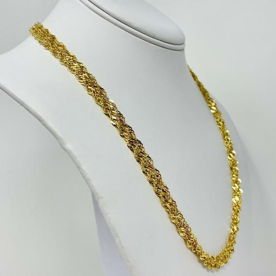 Other 14k Gold Sparkle Mesh Triple Strand Twisted Rope Chain Necklace 20