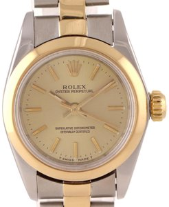 Rolex Serviced Rolex Oyster Perpetual 24mm 67183 Two Tone Steel Gold Watch