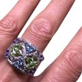 Other Amethyst Peridot Blue Topaz & Diamond Ring .925 Sterling Silver Image 0