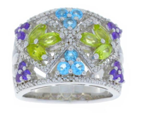 Other Amethyst Peridot Blue Topaz & Diamond Ring .925 Sterling Silver Image 1