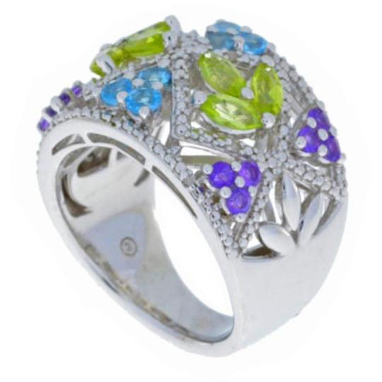 Other Amethyst Peridot Blue Topaz & Diamond Ring .925 Sterling Silver Image 2
