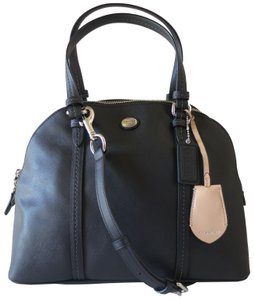 Coach Elegant Saffiano Leather Domed Satchel in Black
