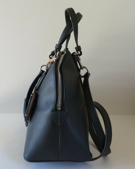 Coach Elegant Saffiano Leather Domed Satchel in Black Image 1