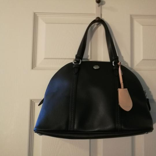 Coach Elegant Saffiano Leather Domed Satchel in Black Image 10