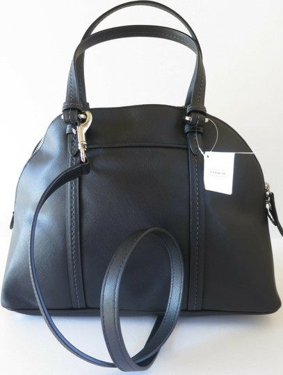Coach Elegant Saffiano Leather Domed Satchel in Black Image 3