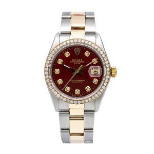 Rolex Rolex Oyster Perpetual Date 1505 34MM Red Diamond Dial With 1.20 CT