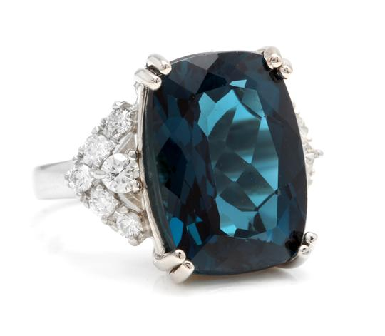 Other 13.70 Carats Natural LONDON BLUE TOPAZ and Diamond 14K White Gold Ring Image 1