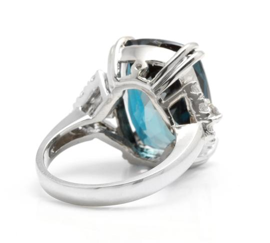 Other 13.70 Carats Natural LONDON BLUE TOPAZ and Diamond 14K White Gold Ring Image 3