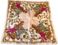 Céline Rare Vintage Eiffel Tower Cream Pink and Gold Scarf / Wrap / Square Image 0