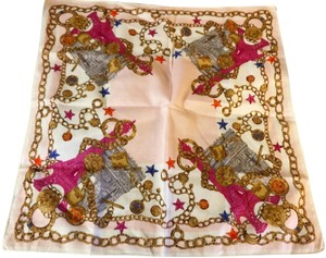 Céline Rare Vintage Eiffel Tower Cream Pink and Gold Scarf / Wrap / Square