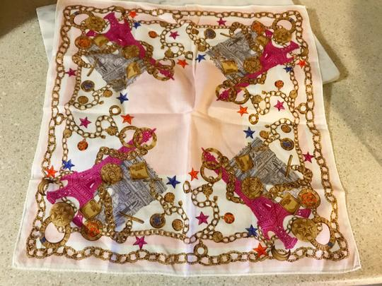 Céline Rare Vintage Eiffel Tower Cream Pink and Gold Scarf / Wrap / Square Image 10
