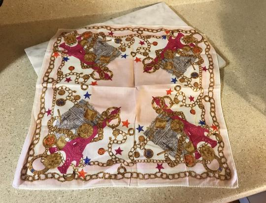 Céline Rare Vintage Eiffel Tower Cream Pink and Gold Scarf / Wrap / Square Image 11