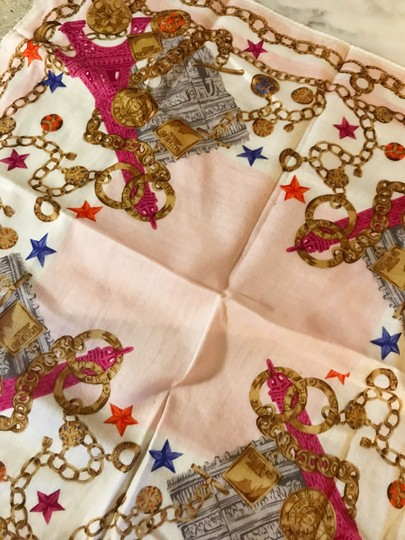 Céline Rare Vintage Eiffel Tower Cream Pink and Gold Scarf / Wrap / Square Image 8