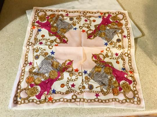 Céline Rare Vintage Eiffel Tower Cream Pink and Gold Scarf / Wrap / Square Image 9