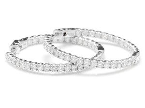 OTHER 2.85Ct Natural Diamond 14K White Gold Hoop Earrings