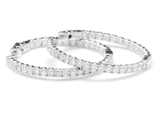 OTHER 2.85Ct Natural Diamond 14K White Gold Hoop Earrings Image 0