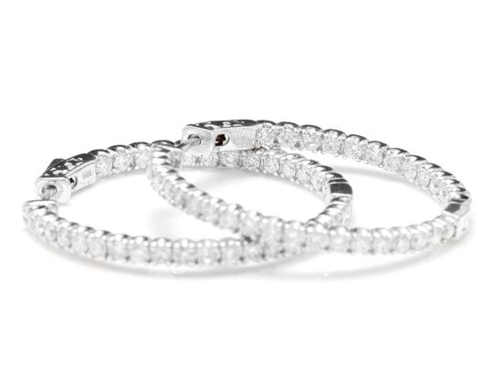 OTHER 2.85Ct Natural Diamond 14K White Gold Hoop Earrings Image 1