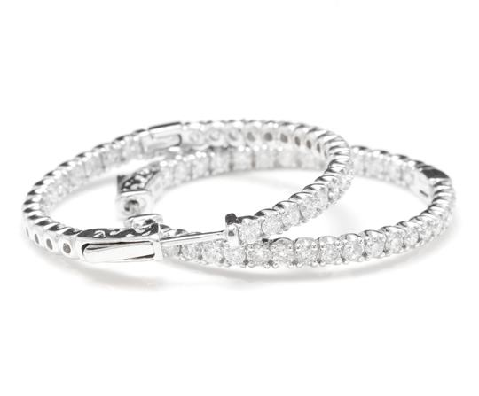 OTHER 2.85Ct Natural Diamond 14K White Gold Hoop Earrings Image 2