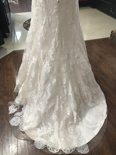Wtoo Oatmeal Lace 15130 Formal Wedding Dress Size 6 (S) Image 3