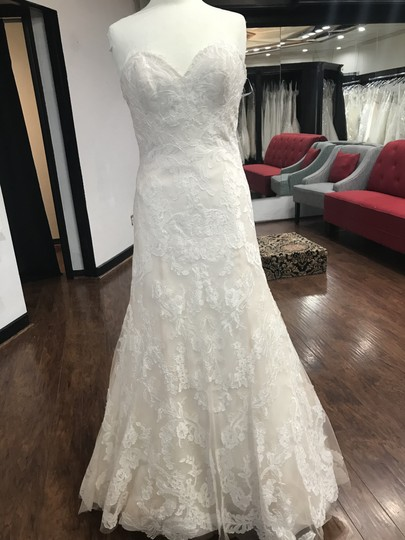 Wtoo Oatmeal Lace 15130 Formal Wedding Dress Size 6 (S) Image 5