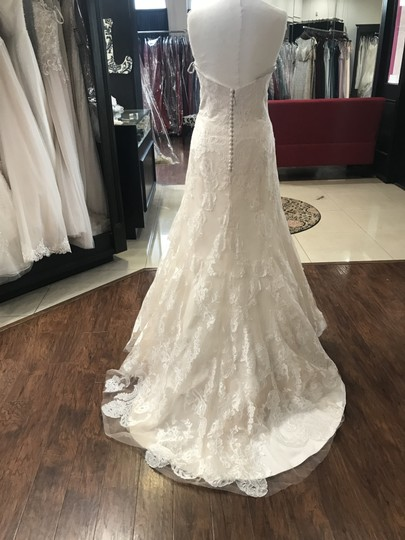 Wtoo Oatmeal Lace 15130 Formal Wedding Dress Size 6 (S) Image 6