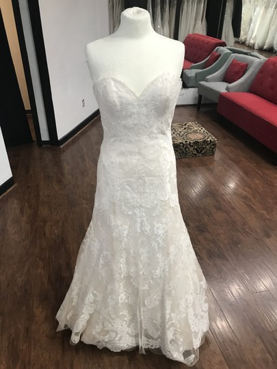 Wtoo Oatmeal Lace 15130 Formal Wedding Dress Size 6 (S) Image 7