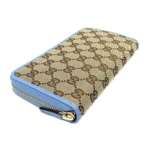Gucci Gucci GG original Beige Logo Canvas Leather Mineral Blue Wallet 363423