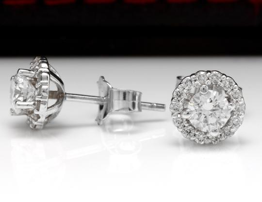 Other .75Ct Natural Diamond 14k Solid White Gold Earrings Image 2