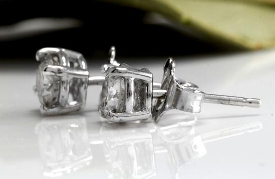 Other 1.00Ct Natural Diamond 14k Solid White Gold Stud Earrings Image 2