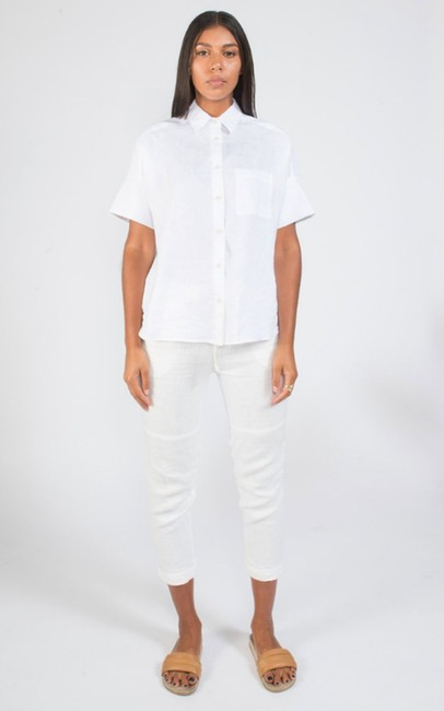 Coast Spring Summer Linen Classic Casual Button Down Shirt White Image 1