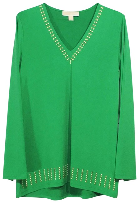Preload https://img-static.tradesy.com/item/25318488/michael-kors-green-studded-v-neck-bell-sleeve-blouse-size-6-s-0-2-650-650.jpg
