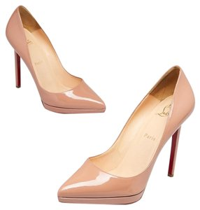 Christian Louboutin Pigalle Pigalle Plato Patent Leather So Kate Pointed Toe Beige Pumps