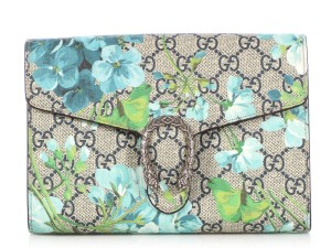 Gucci Blue Floral Gc.q0311.03 Print Silver Hardware Cross Body Bag