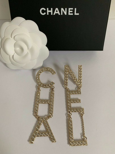 Chanel Chanel RUNWAY CHA NEL Letter Logo Crystal Statement Earrings Image 2