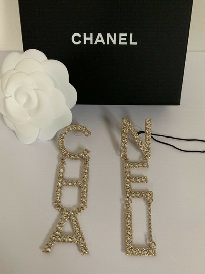 Chanel Chanel RUNWAY CHA NEL Letter Logo Crystal Statement Earrings Image 6