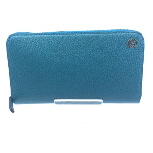 Gucci Cobalt Blue Teal Pebbled Leather Zip Around Wallet GG Charm Logo 44939