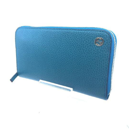Gucci Cobalt Blue Teal Pebbled Leather Zip Around Wallet GG Charm Logo 44939 Image 2