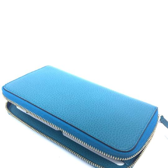 Gucci Cobalt Blue Teal Pebbled Leather Zip Around Wallet GG Charm Logo 44939 Image 3
