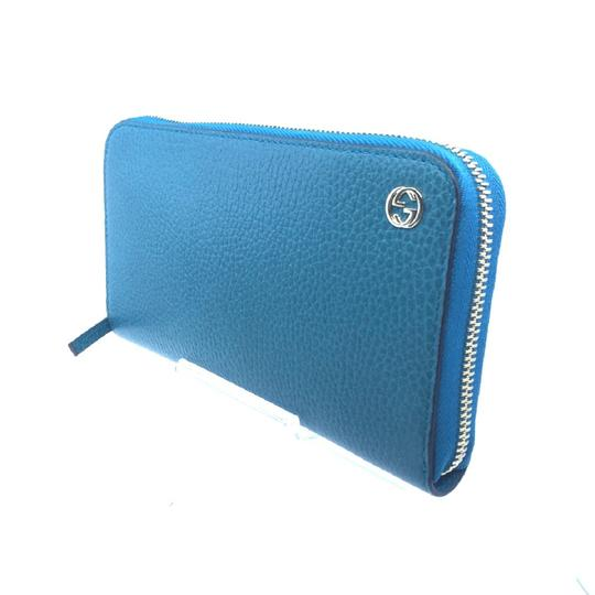 Gucci Cobalt Blue Teal Pebbled Leather Zip Around Wallet GG Charm Logo 44939 Image 4