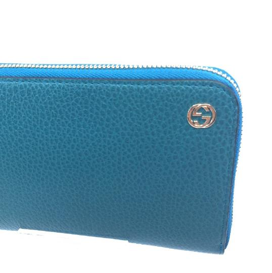 Gucci Cobalt Blue Teal Pebbled Leather Zip Around Wallet GG Charm Logo 44939 Image 7