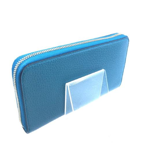 Gucci Cobalt Blue Teal Pebbled Leather Zip Around Wallet GG Charm Logo 44939 Image 8