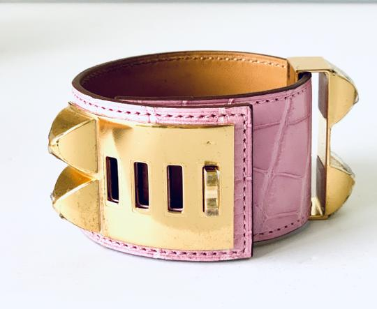 Hermes Hermes CDC Collier de Chien Bubblegum Pink Croc Alligator Gold Hardwar Image 2