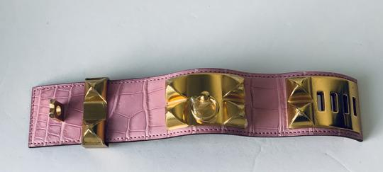 Hermes Hermes CDC Collier de Chien Bubblegum Pink Croc Alligator Gold Hardwar Image 4