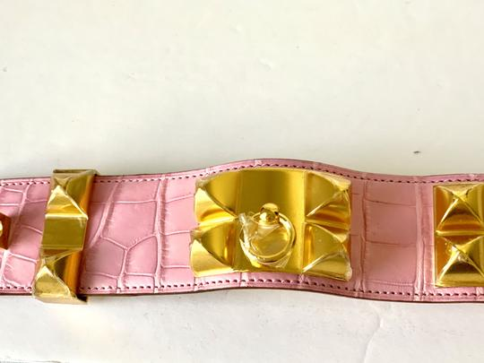 Hermes Hermes CDC Collier de Chien Bubblegum Pink Croc Alligator Gold Hardwar Image 7