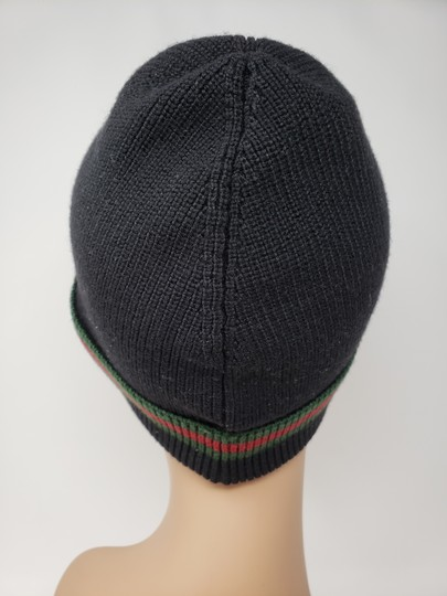 Gucci Black Gucci signature stripe wool beanie L sz Image 7