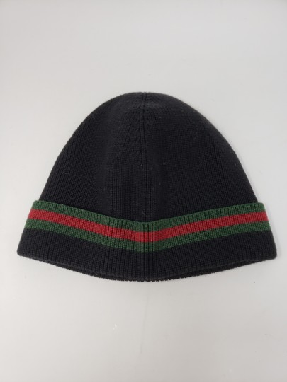 Gucci Black Gucci signature stripe wool beanie L sz Image 9