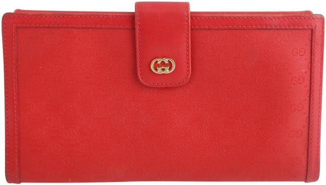 Gucci Red Vintage Monogram Wallet Gucci Red Vintage Monogram Wallet Image 1