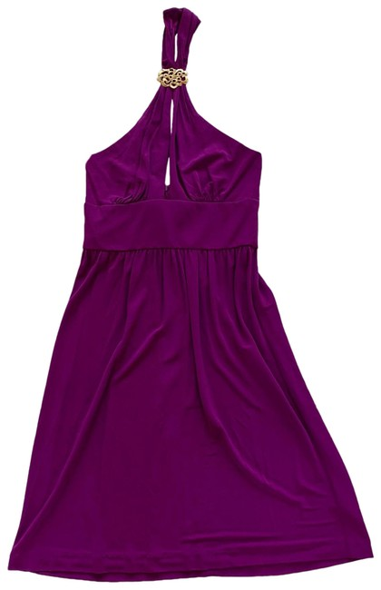 Item - Purple and Gold Strapless with Neck Jewelry Piece Mid-length Cocktail Dress Size 4 (S)