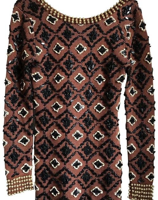 Item - Beaded Linen Dress Medium Brown Sweater